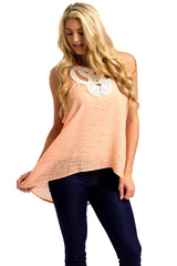 Peach Cutout Crochet Neck Linen Tank Top