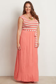 Coral Striped Top Sash Tie Plus Size Maxi Dress