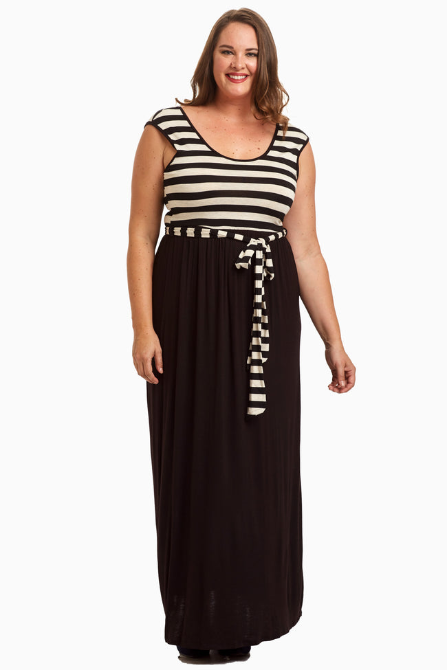 Black Striped Top Sash Tie Maxi Dress