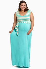 Mint Striped Top Sash Tie Plus Size Maternity Maxi Dress