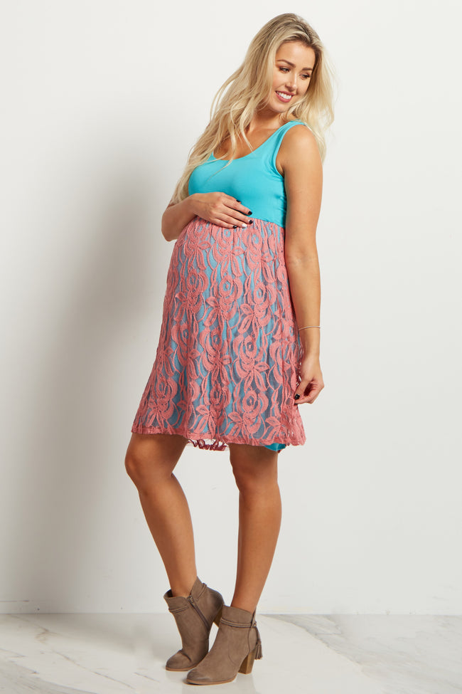 Jade Pink Lace Bottom Maternity Dress