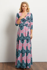 Mint Fuchsia Damask Draped 3/4 Sleeve Maternity Maxi Dress