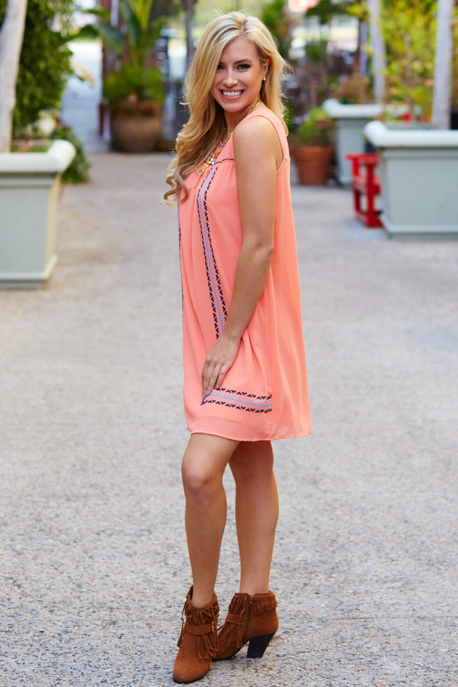Coral Embroidered Front Chiffon Shift Dress