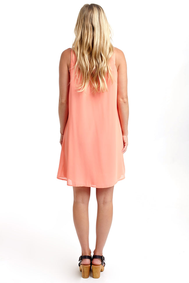Coral Embroidered Front Chiffon Maternity Dress
