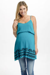 Teal Embroidered Tribal Hem Maternity Tank Top