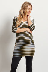 Olive White Striped Crochet Accent 3/4 Sleeve Maternity Top