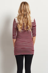 Burgundy White Striped Crochet Accent 3/4 Sleeve Maternity Top
