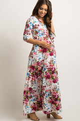 Petite Ivory Floral Draped 3/4 Sleeve Maternity Maxi Dress