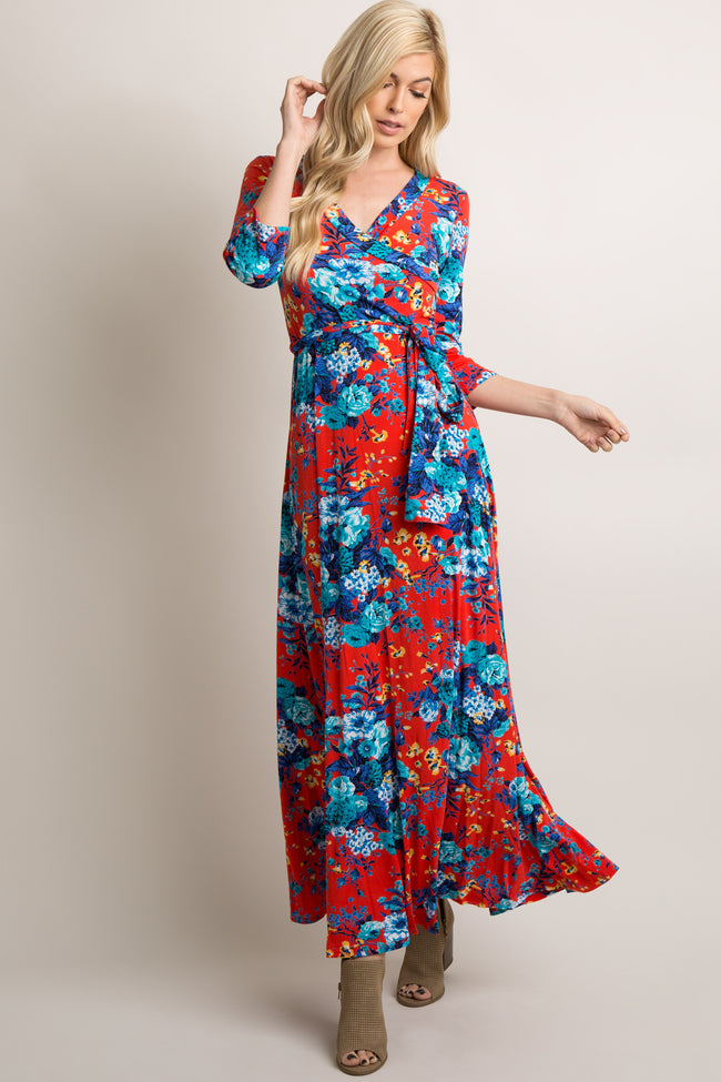 Red Floral Draped 3/4 Sleeve Maxi Dress