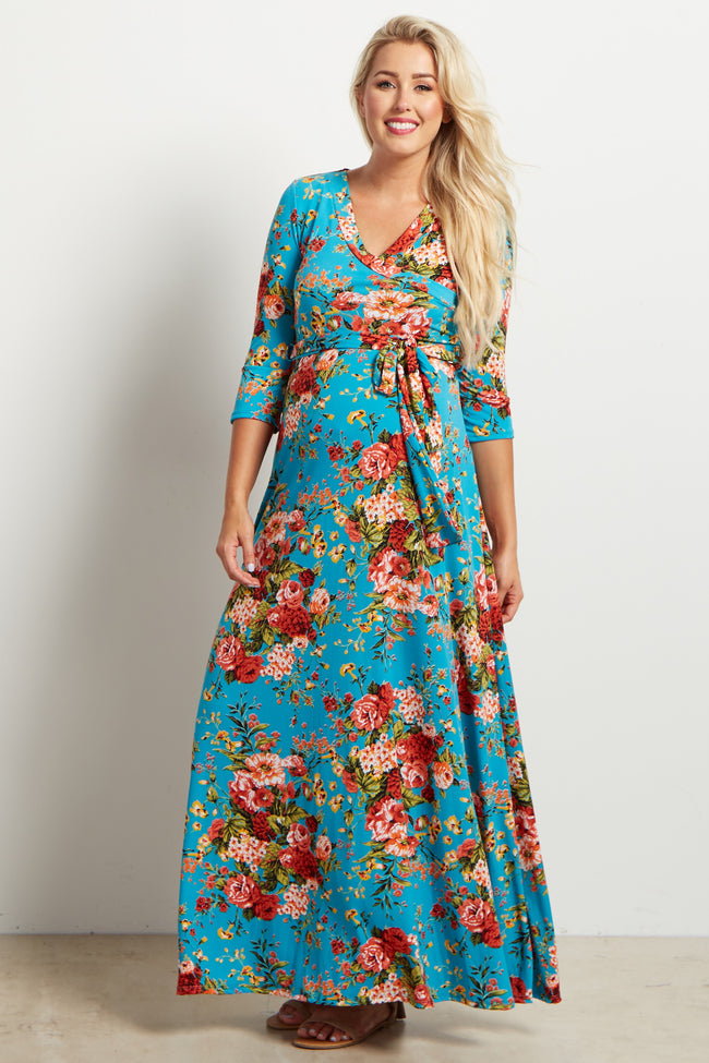 Aqua Floral Draped 3/4 Sleeve Maternity Maxi Dress