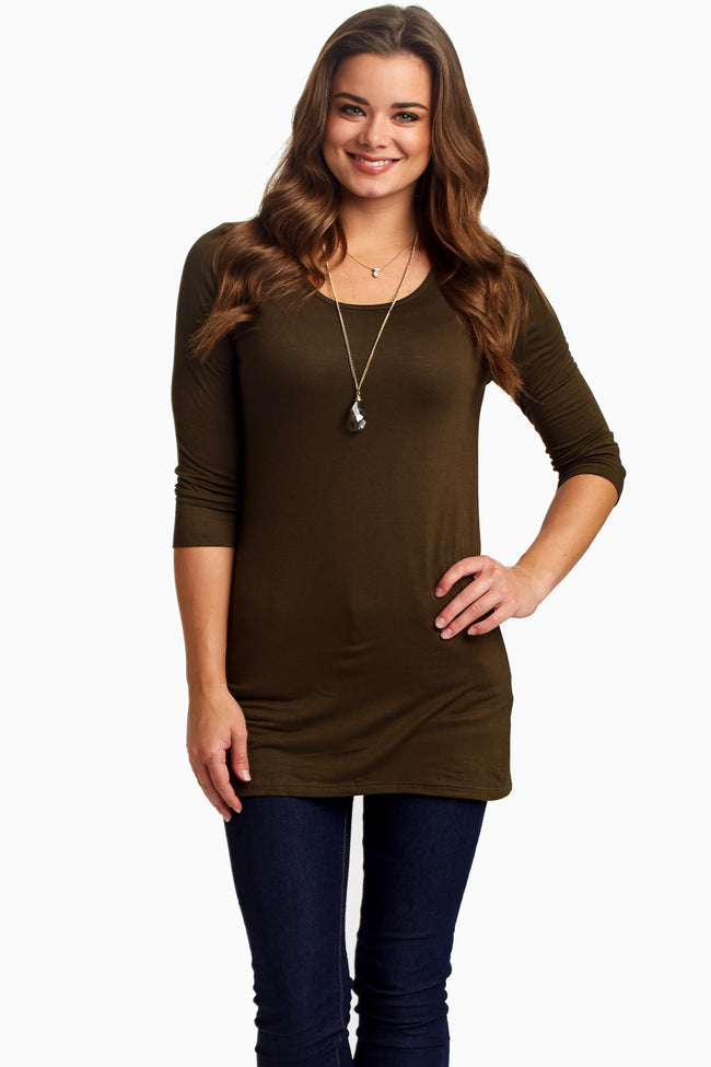 Olive Green 3/4 Sleeve Maternity Shirt