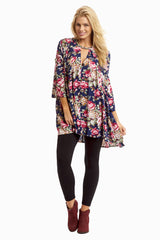 Navy Blue Floral Bell Sleeve Maternity Tunic