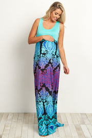 Aqua Purple Multi-Color Damask Bottom Maternity Maxi Dress