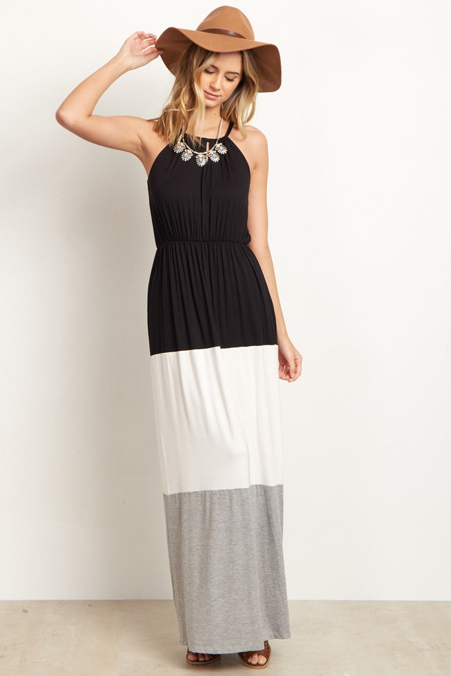 Black White Grey Colorblock Halter Maternity Maxi Dress