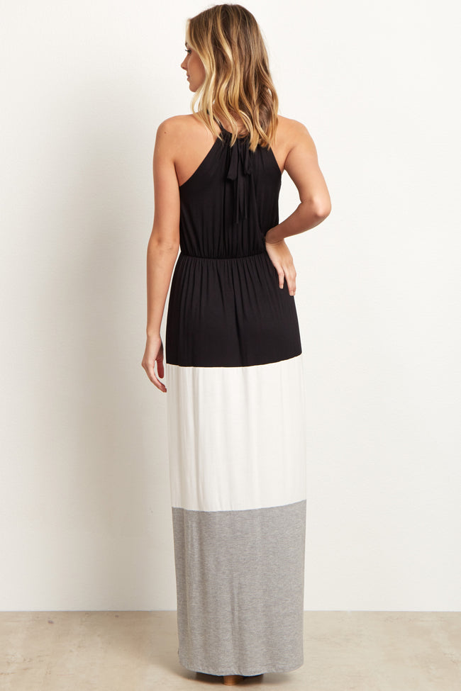 Black White Grey Colorblock Halter Maxi Dress