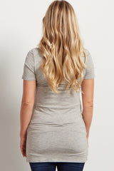 Grey Basic Short Sleeve Maternity Tee