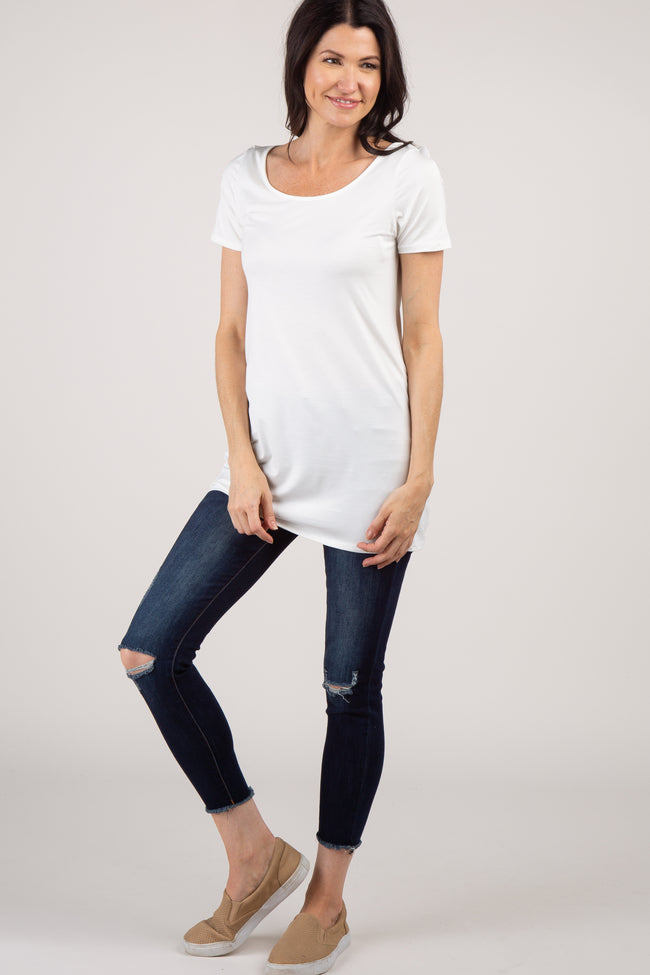 Ivory Basic Short Sleeve Maternity Tee