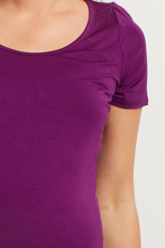 Purple Basic Short Sleeve Maternity Tee