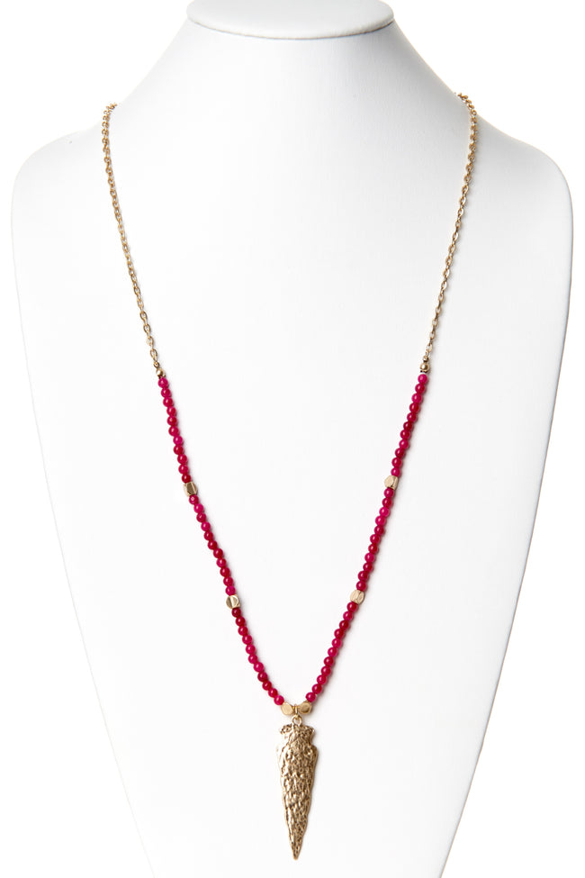 Fuchsia Beaded Arrowhead Necklace/Earring Set