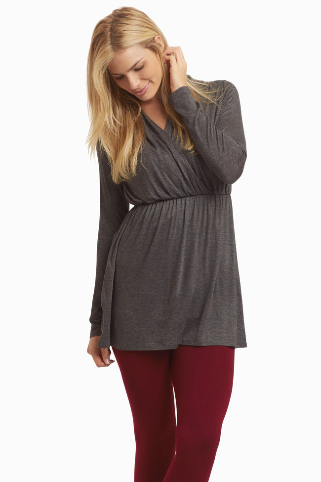 Charcoal Long Sleeve Maternity/Nursing Top