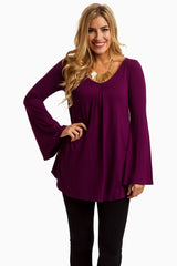 Purple Pleated Front Basic Maternity Top
