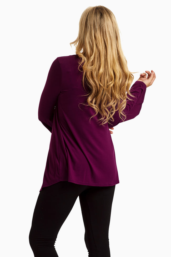 Purple Pleated Front Basic Top