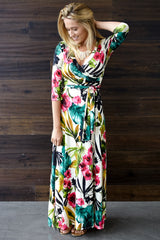 Ivory Tropic Floral 3/4 Sleeve Maxi Dress