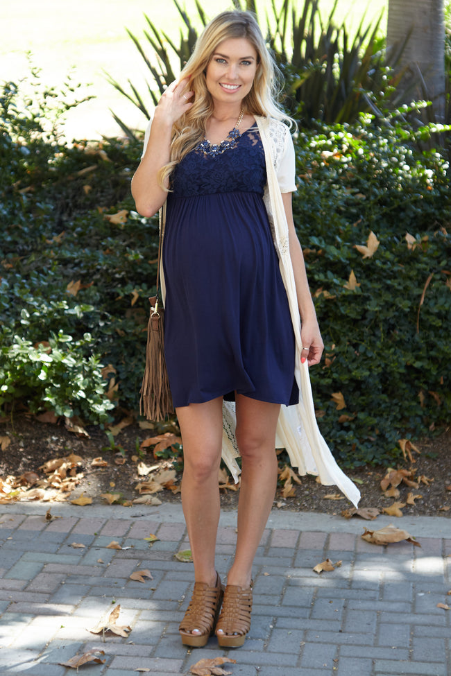 Navy Blue Lace Top Maternity Dress