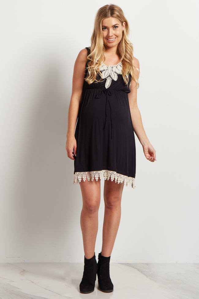 Black Crochet Accent Tie Front Maternity Dress