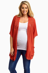 Rust Open Crochet Accent Short Sleeve Maternity Cardigan
