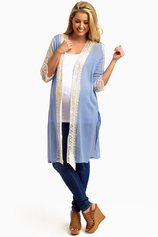 Light Blue Lace Accent Short Sleeve Long Maternity Cardigan