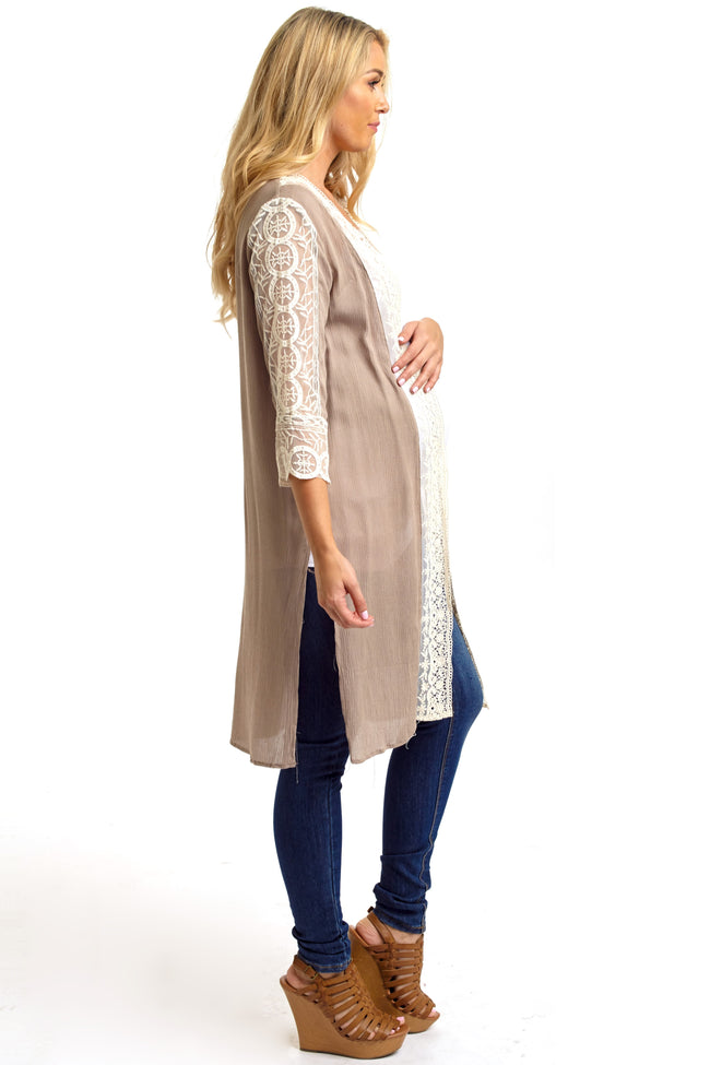 Mocha Lace Accent Short Sleeve Long Maternity Cardigan