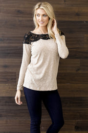 Mocha Heathered Lace Neckline Top
