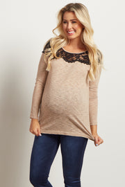 Mocha Heathered Lace Neckline Maternity Top