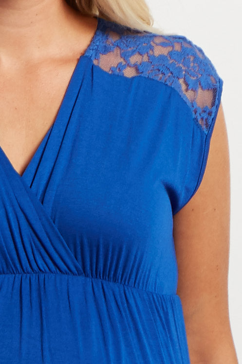 Royal Blue Lace Shoulder Maternity/Nursing Dress