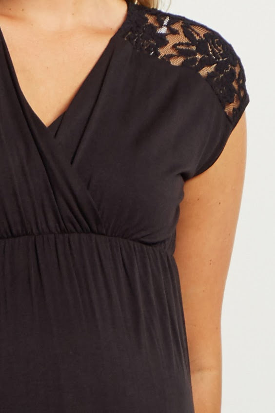 Black Lace Shoulder Maternity/Nursing Dress