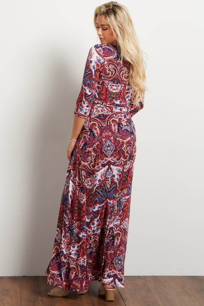 Fucshia Floral Paisley Draped Maternity Maxi Dress