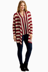 Red Beige Striped Knit Plus Maternity Cardigan