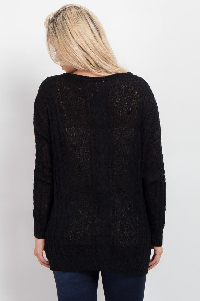 Black Cable Knit Oversized Sweater