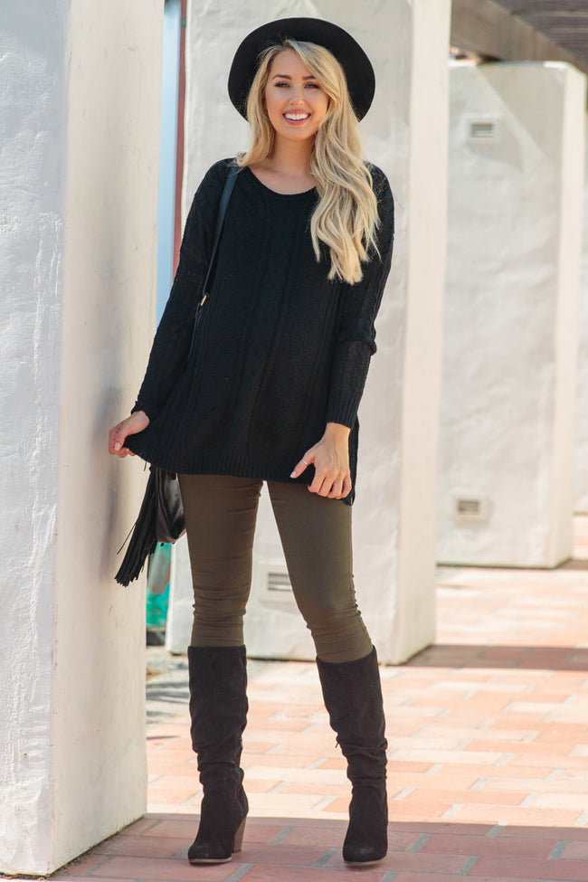 Black Cable Knit Oversized Maternity Sweater