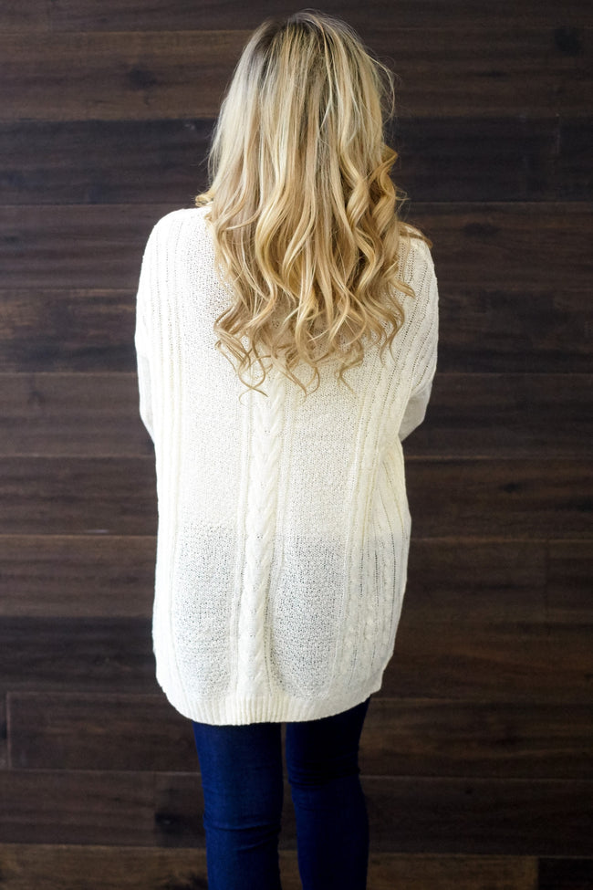 Ivory Cable Knit Oversized Sweater