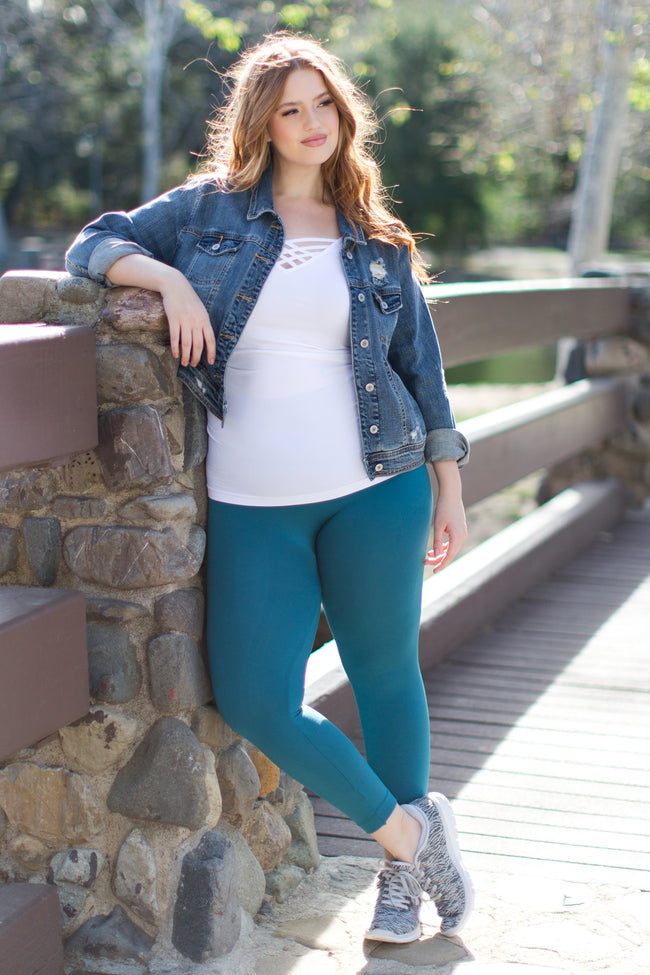 Teal Basic Plus Maternity Leggings