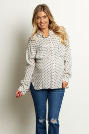 White Black Button Up Maternity Blouse