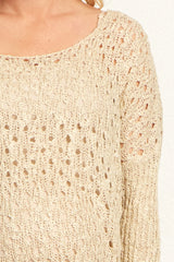 Beige Open Knit Maternity Sweater