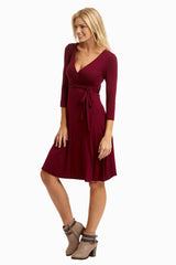 Burgundy Sash Tie Dress
