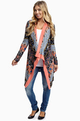 Coral Multi-Color Printed Open Maternity Cardigan