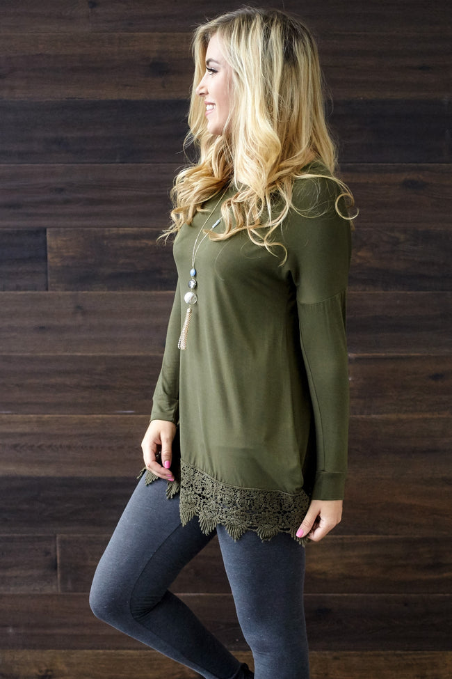 Olive Green Crochet Trim 3/4 Sleeve Top