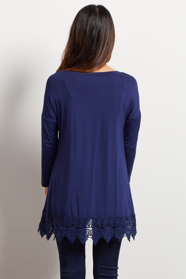 Navy Blue Crochet Trim 3/4 Sleeve Maternity Top