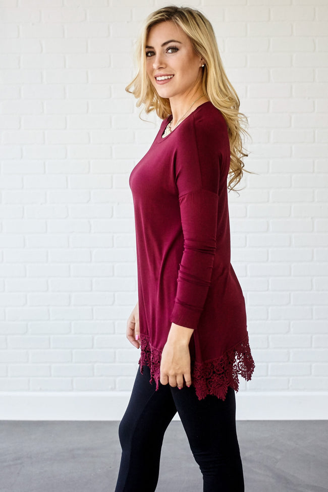 Burgundy Crochet Trim 3/4 Sleeve Top