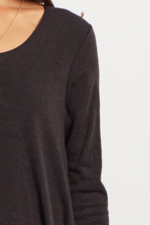 Black Chiffon Layered Flare Knit Maternity Top